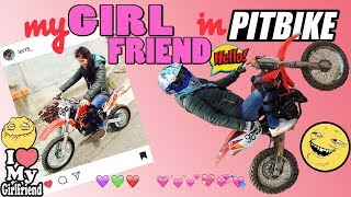 my girlfriend riding a 50cc pit bike, fail, run from the police,GoPro plus, 140cc pitbike