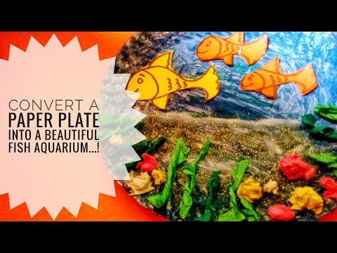 DIY Beautiful Fish Aquarium from a Paper plate....very easy n simple kid's learning crafts..!!