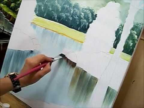 Como pintar gua how to paint water acr lico sobre - Pintar con acrilicos paso a paso ...