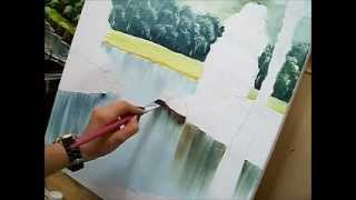Como pintar água – How to paint water – Acrílico sobre tela