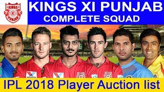 IPL 2018 Player Auction : Kings XI Punjab complete squad | रखे आपको सबसे आगे