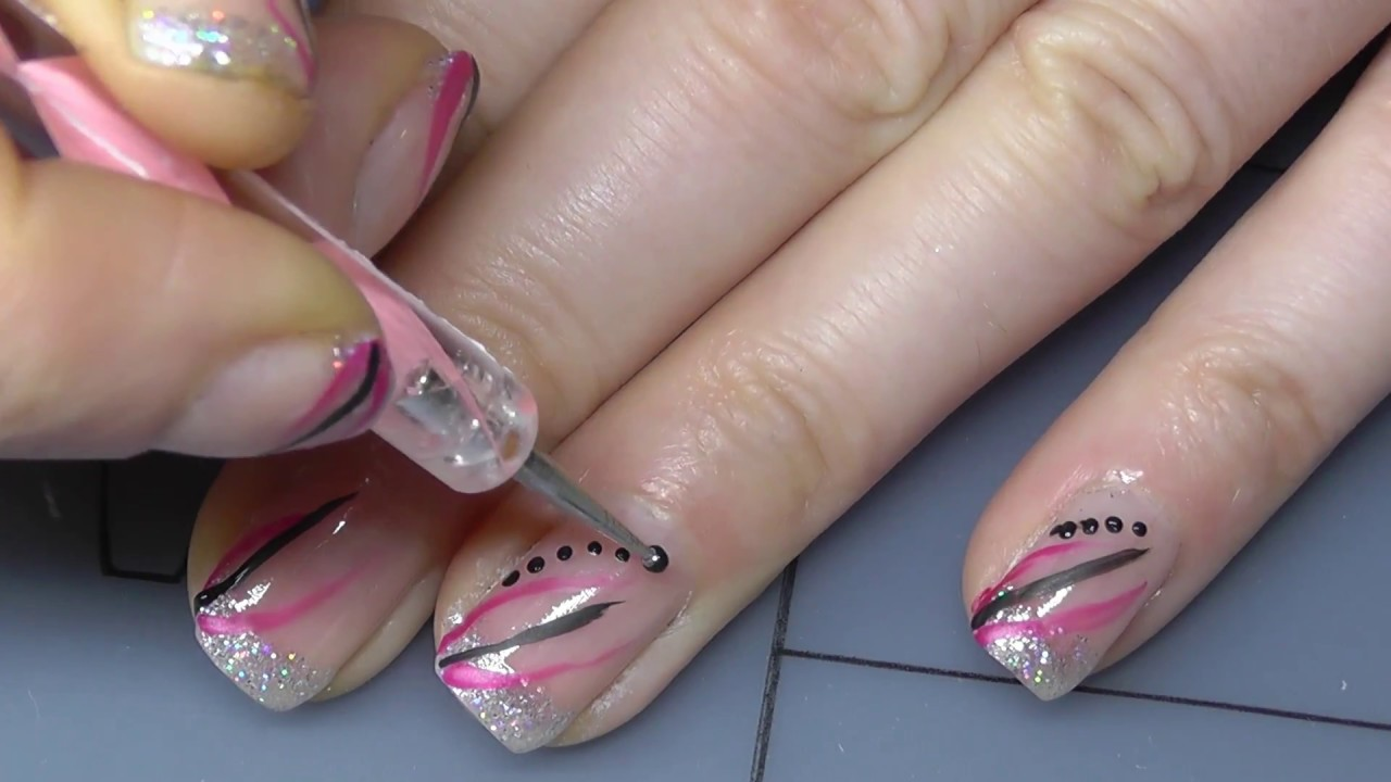 glitzer french nageldesign mit zierstreifen youtube
