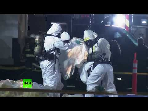 Forensic investigators search Facebook facility after 2 people possibly exposed to sarin