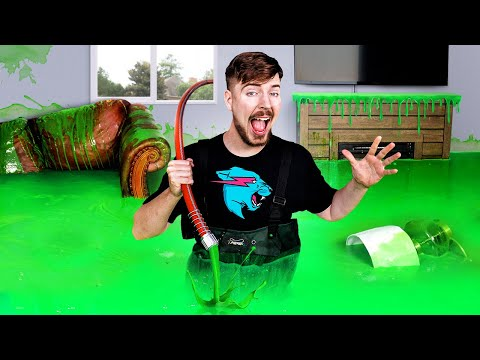 I Filled My Brother's House With Slime & Bought Him A New One - MrBeast