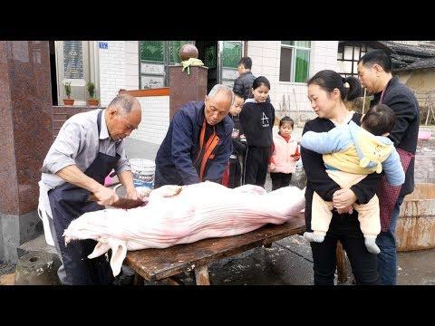 农村过年杀年猪,190斤的猪4人分,过年不愁没肉吃了