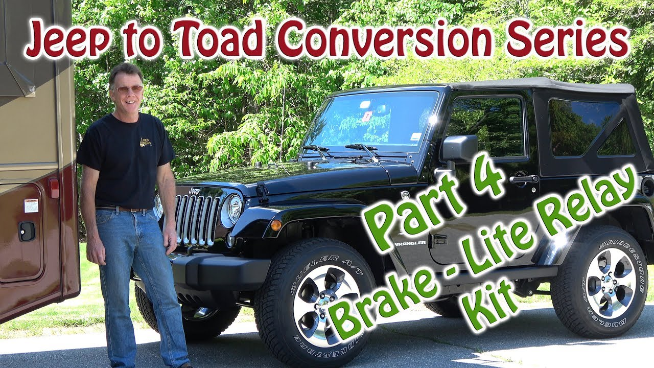 jeep to rv toad dingy conversion roadmaster brake lite relay kit rh youtube com Willys Jeep Wiring Diagram jeep jk tow wiring