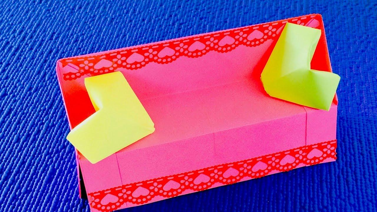 DIY:  Мебель для кукол  из бумаги    Диван из бумаги для кукол. Оригами диван   
