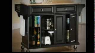 Kitchen Cart In Black With Natural Wood Top