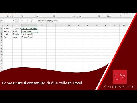Come Unire Il Contenuto Di Due Celle In Excel