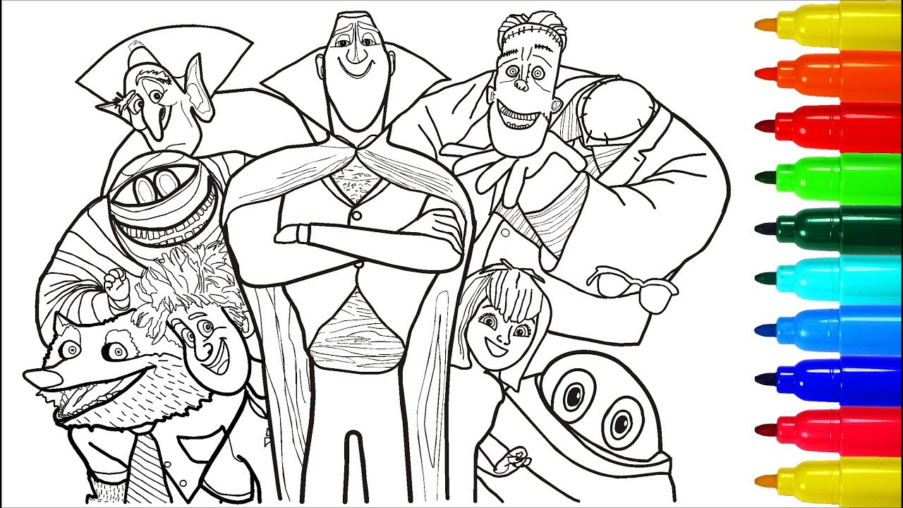 Hotel Transylvania  Coloring Pages Colouring Pages For Kids With Colored Markers
