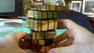 NEW RARE CUSTOM PUZZLE: GOLDEN MIRROR TOWER 7 LAYERS!!!!!! Mirror Blocks 3x3x7 custom made cube.