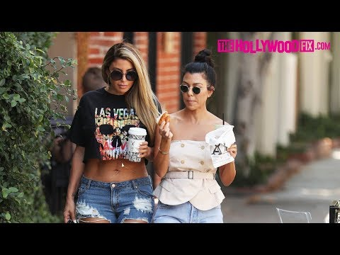 Kourtney Kardashian & Larsa Pippen Grab A Bite To Go At Alfred Coffee On Melrose Place 9.7.17