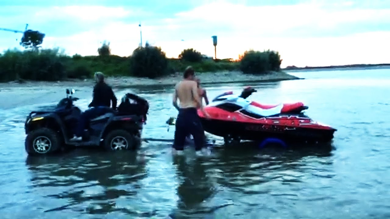 Jetski Pulled by Quad  PWC Musclecraft and ATV  BRP Renegade