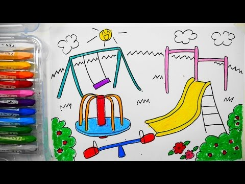How to draw Children's playground  with crayons | 어린이 놀이터 그리는법