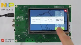 i.MX RT1050 from NXP running an Embedded Wizard powered GUI Application
