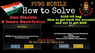 Pubg Mobile how to Disable Health Reminder or 6 hours restriction & How to get back Ban Pubg Account thumbnail