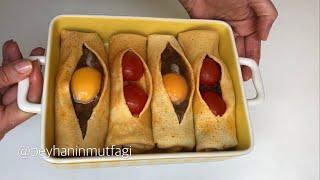 Kıymalı pide tadında fırında yumurtalı krep tarifi 👍🏻😋 İster etli ister sebzeli yapın 👍🏻