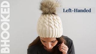 {Left-Handed} Easy Cable Knit Hat For First Time Cable Knitters