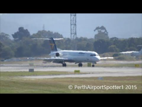 Alliance Airlines Fokker 100 Arriving At Perth Airport