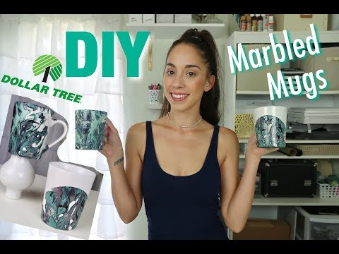 DIY DOLLAR TREE MARBLED MUGS *SUPER EASY*