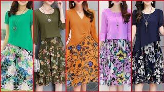Stylish Stunning And Elegant Stylish Floral Print Chiffon ALine /Skater Dress Design