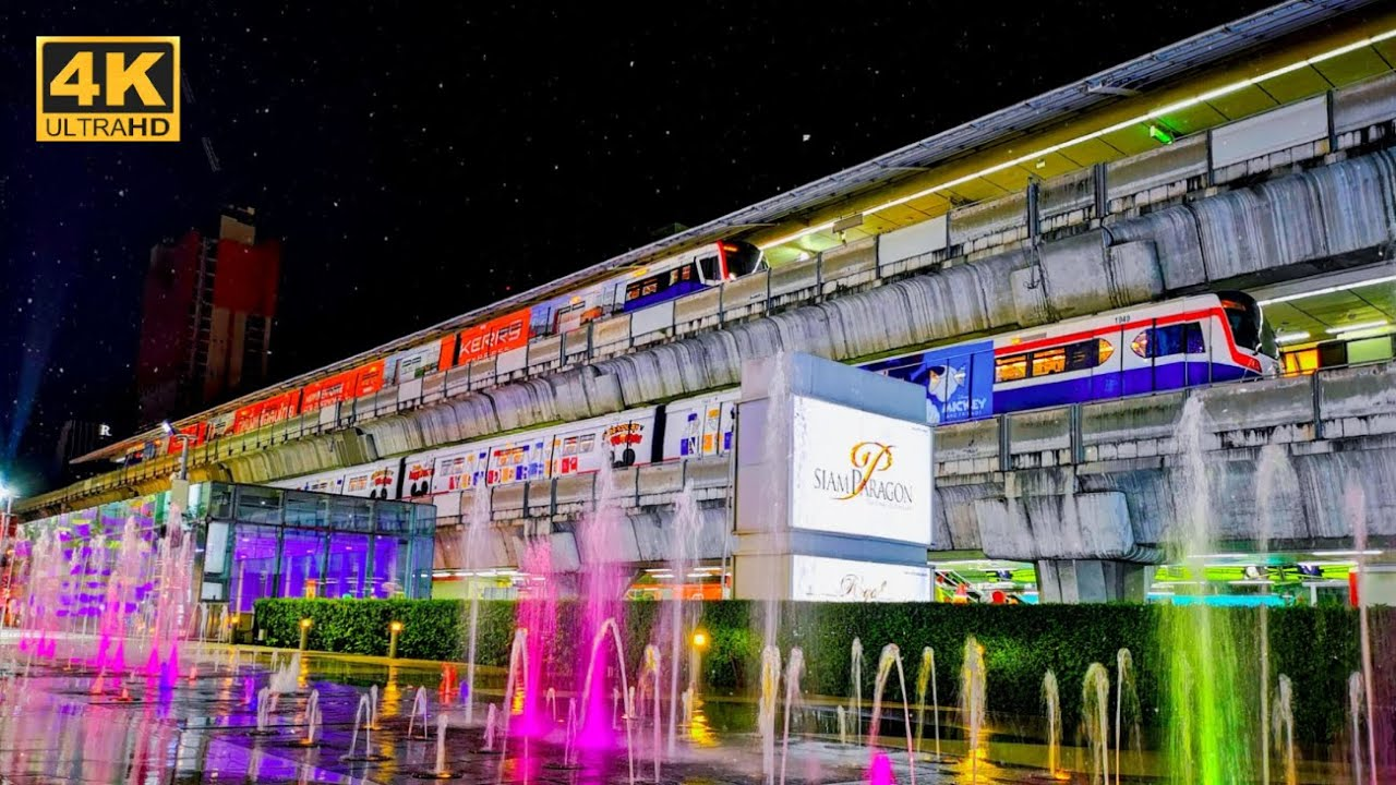 [4K]รถไฟฟ้าBTSสถานี สยาม ในสายสุขุมวิท BTS Sukhumvit line @ Siam Station (Interchange Station)