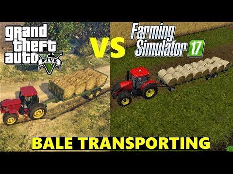 GTA 5 VS FARMING SIMULATOR 17 -BALE TRANSPORTING-