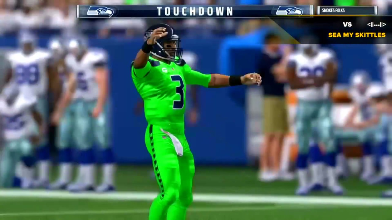 Seattle Seahawks Tnf Action Green Color Rush Uniforms Vs Rams Madden Nfl 17 Online Youtube