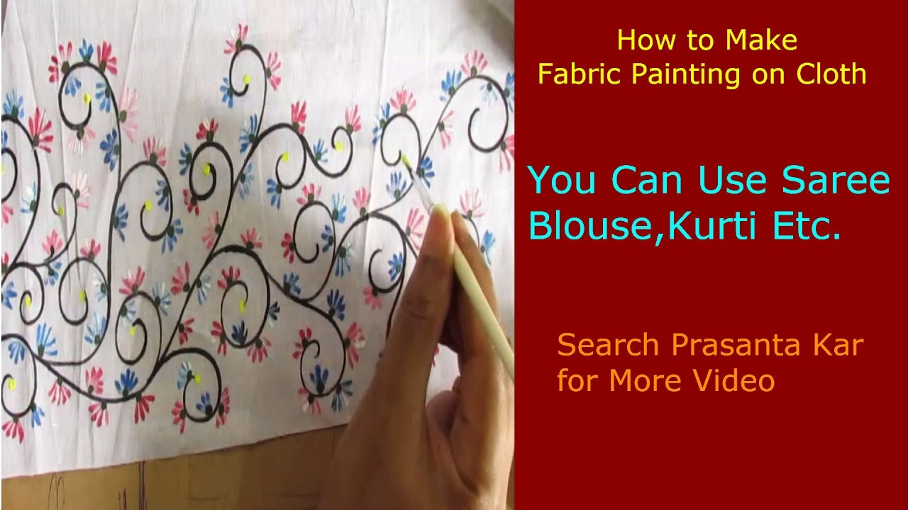 How to make floral fabric painting on cloth youtube for Asha mural painting