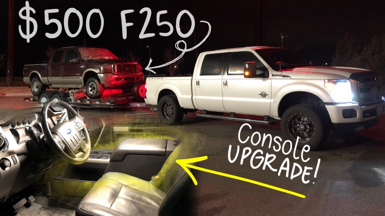 500 6 0 powertroke ford f250 center console upgrade for my 2016 lariat f350 super duty  [ 1280 x 720 Pixel ]
