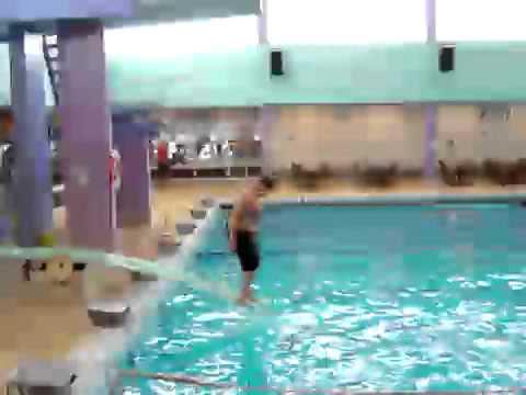 Fat kid Hits Head on Diving Board!