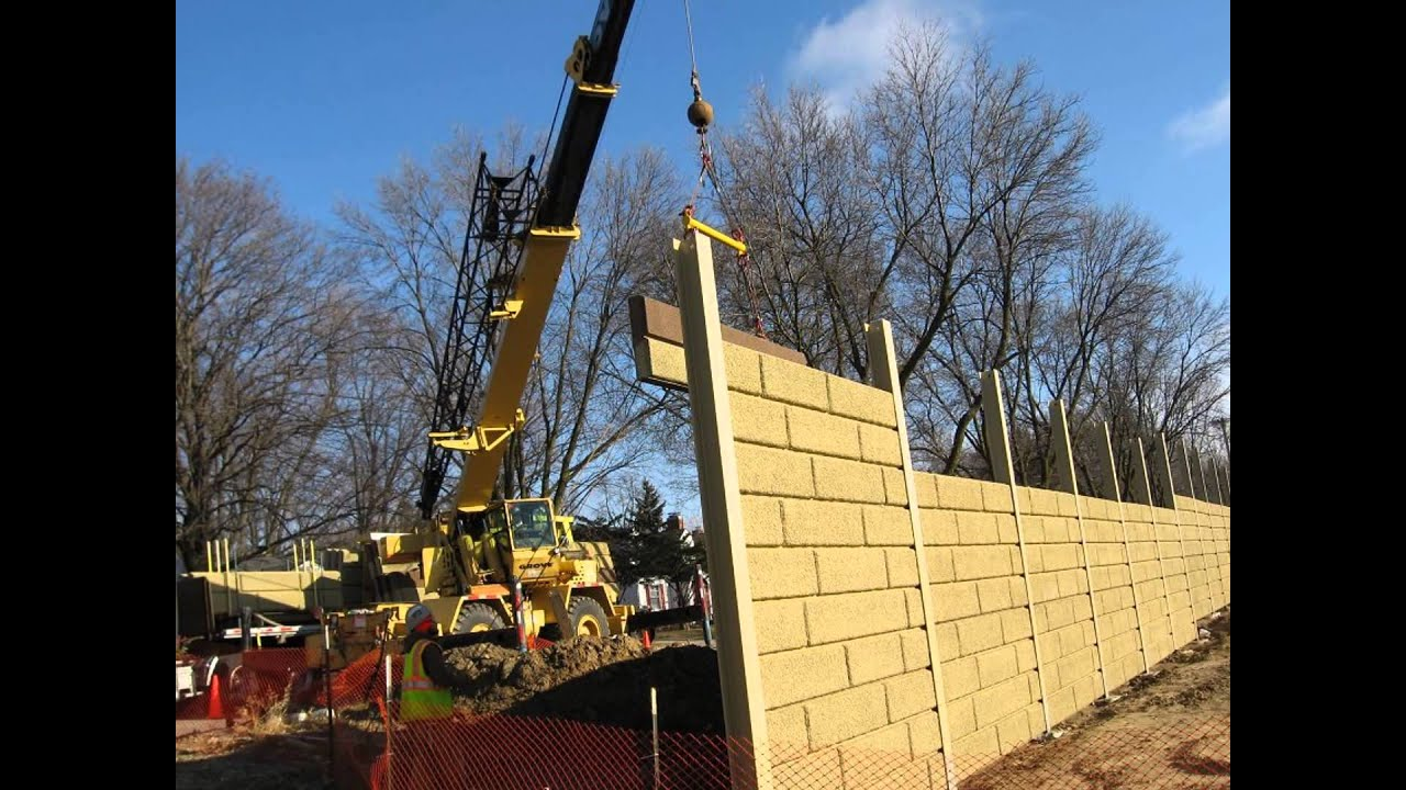 Sound Wall Install Madison Wisconsin from Crest Precast Concrete ...