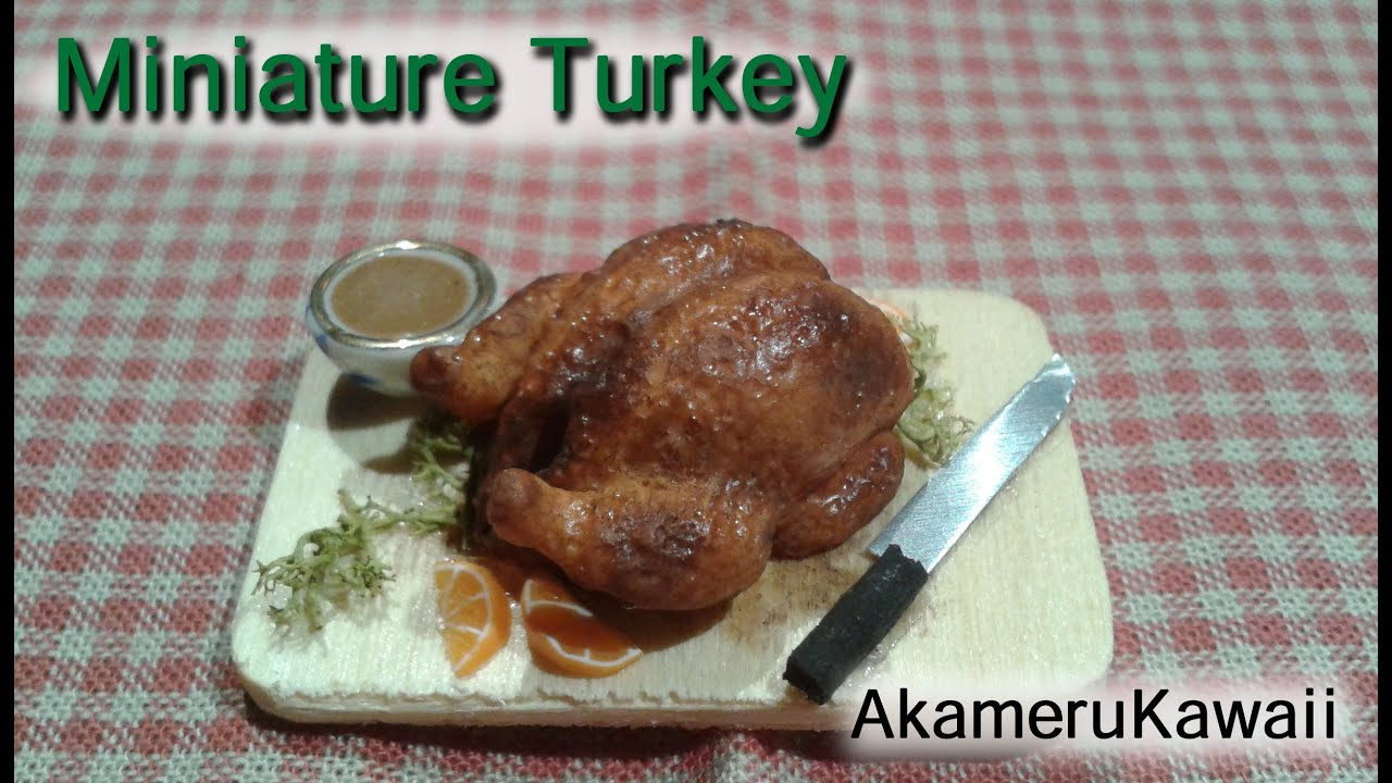 miniature turkey tutorial - dollhouse polymer clay food - youtube