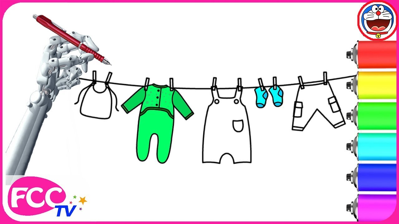 how to draw baby clothes hanging on a rope drawing for kid how