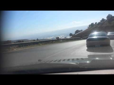 Drivng down mountain to Ghor, Amman Jordan
