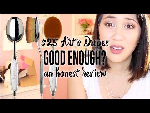 my makeup brush set. honest review of the $2.50 artis dupe oval brush set from my makeup - youtube