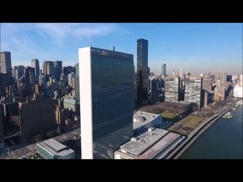NYC 01 - Drone View of East River and United Nations Building