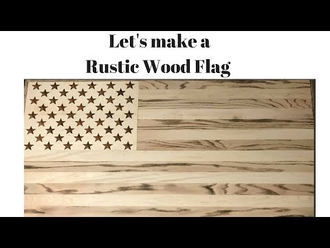 Burned Wood Grain Rustic American flag