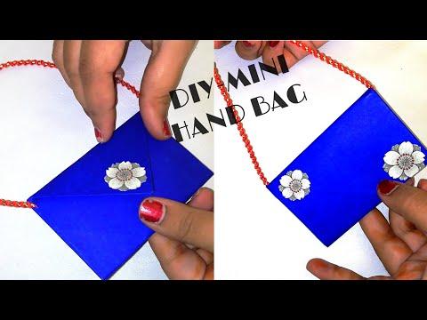 DIY-How To Make A Paper Hand Bag || Origami Clutch || Mini Paper Handbag Making...