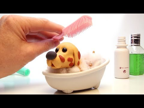 Doggie shower time 💕 Superhero Play Doh Stop motion videos