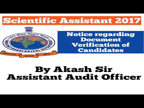 Scientific Assistant 2017  IMD Notice for Document Verification of Candidates  In Hindi
