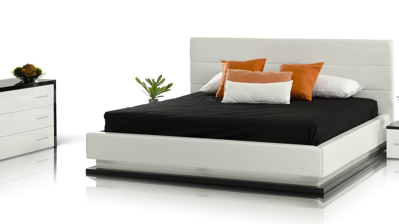 Infinity - Contemporary White Platform Bed with Lights ...