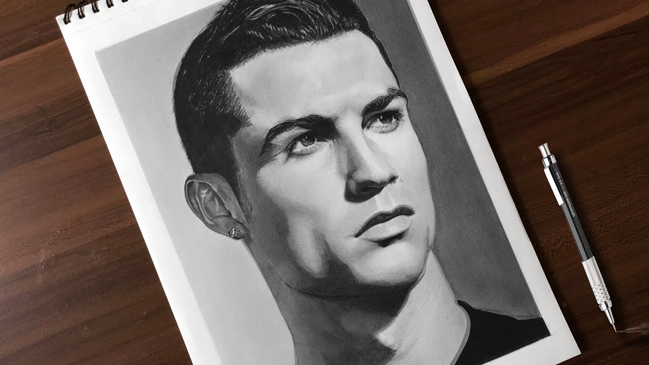 Drawing cristiano ronaldo realistic pencil drawing time lapse