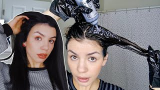 DYEING MY HAIR BLACK! BROWN TO BLACK HAIR TRANSFORMATION