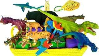 Learn Wild Animals Names, Zoo Animals, Dinosaurs, Shark 🌋 Schleich Volcano fire - What's in the Box?