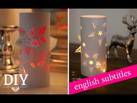 weihnachtsdeko basteln 3d deko windlichter tutorial 3d wind lights how to deko kitchen. Black Bedroom Furniture Sets. Home Design Ideas