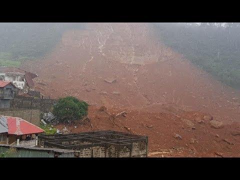 mudslide in Freetown, landslide in Sierra Leone, Dozens of houses submerged, mountain town of Regent
