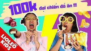 Thử thách 100k đại chiến đồ ăn (hắc ám hay thiên thần??) - Tấm Cám chuyện Lio kể - Bé học tiếng Anh