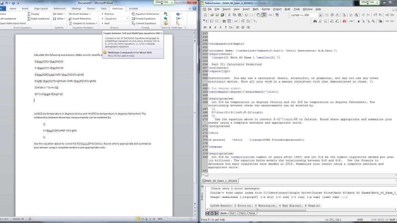 Converting LaTeX to MathType