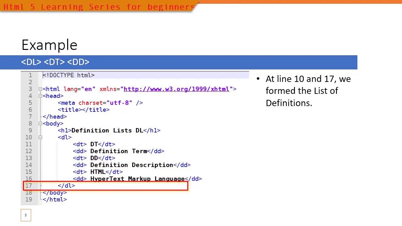 20 HTML20 Definition List